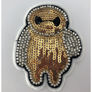 Gold White Baymax Carton Machine Sequin Beaded Patch