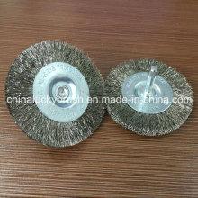 Cepillo de la rueda de acero inoxidable de 75m m con el eje (YY-583)