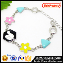 Fashion Jewelry Enamel Flower Charm Bracelet for Best Friend