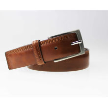 Elegant polish brown stitching leather belt man