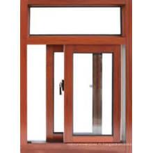 Fenêtre coulissante en verre et fenêtre à battants en aluminium