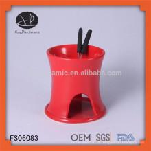 Mini fondue / fonte de fondue de chocolate / queimador de fondue, panela de fondue de barro vermelho