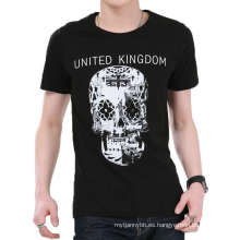 Blanco y negro Skull Design Printing Wholesale Fashion algodón Hombres Camiseta