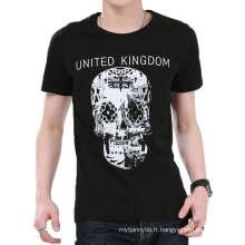 Conception de crâne noir et blanc impression en gros T-shirt d'hommes de coton de mode