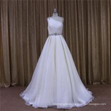 Vestido de novia de organza de un solo hombro 2016