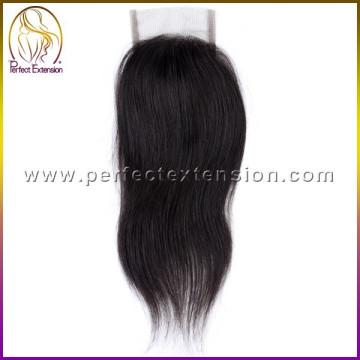 3 часть шелка базовый кружева закрытие с клип, Горячие Продажа оптом акции перуанский волос закрытие