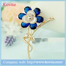 Accessoires de fleurs de mode pour robes broche en cristal plaqué or en strass