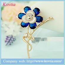 Moda acessórios de flores para vestidos de ouro banhado a cristal rhinestone broche