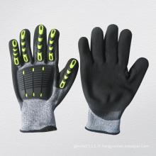 Gant de protection anti-coupure anti-coupure de paume de nitrile de TPR de choc élevé