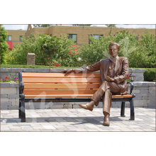 Garden Decoration Outdoor Bronze Statues Man Sitting On Bench