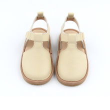 New Style Beige White Leather Barnsandaler