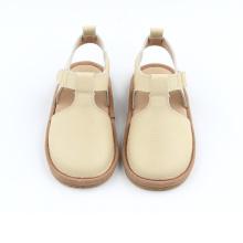 Nieuwe stijl Beige witte lederen kinder sandalen