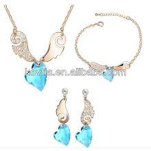 Роскошные сердца форме bule кристалл элемент алмаз bridesmaids наборы ювелирных изделий