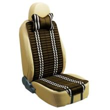 Car Seat Cushion Flat Shape Double Sides Use with Checked Linen and Pleuche-Coffee