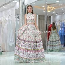Auf lager sleeveless Blumen-Muster-Blumendruck-Satinabendkleid 2pcs langes Kleid neues Meerjungfrauabendkleid für Parteiabnutzung