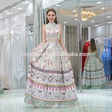Запас рукавов цветок Цветочный узор печати атласные вечерние платья 2шт длинные платья новый русалка вечернее платье вечерние наряды