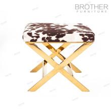 A tela barata do pantherine da mobília de estofamento cobriu o otomano retangular do pufe do quadro de aço inoxidável para o quarto