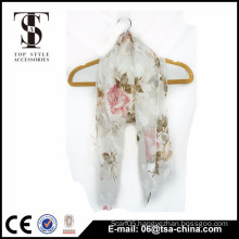 New style scarf polyester voile burn-out prints scarf