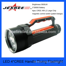 4*cree waterproof fabric handle diving led flashlight
