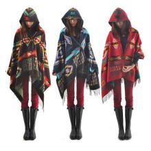 Autumn Winter Fashion Women Bohemia Cashmere Cape Coat