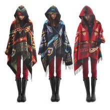 Outono Inverno Moda Mulheres Bohemia Capa de Capa de Caxemira