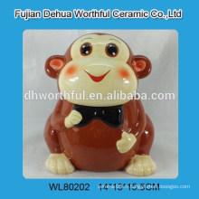 Bocal de stockage en céramique en forme de singe promotionnel mignon