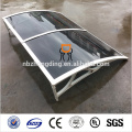 hollow polycarbonate awning with UV coating
