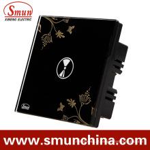 Interruptor de parede, interruptor de controle remoto, interruptor de toque, preto 1 chave ABS
