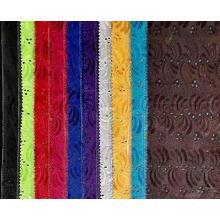 tissu de broderie en coton teint à la machine personnalisé
