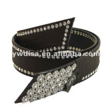 women's PU belt with coffee PU, alloy accessories, clear rhinestones, rhodium plated