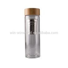 De Buena Calidad Botella de infusor de té de vidrio de pared doble de borosilicato ecológico