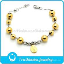 TKB-B0168 Wholesale Stretch Beaded Gold Plating Catholic Saint Adjustable Bracelet Clasp
