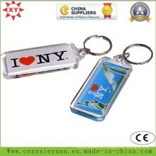 Corrente chave plástica transparente do logotipo