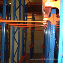 Steel rack drive in pallet racking system