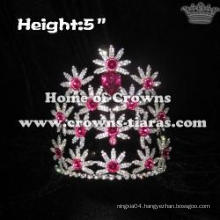 Crystal Rhinestone Flower Pageant Crowns With Pink Diamonds