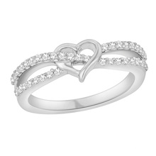 Heart Shape White Cubic Zircon Sterling Silver Ring for Women
