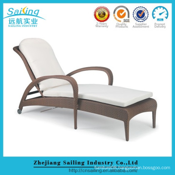 Outdoor Wicker Beds Brown Cane Luxury Rattan Sun Lounger