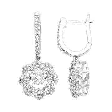 Dancing Diamond Jewelry 925 Silver Dangle Earrings