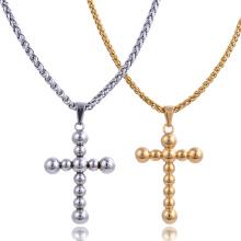 Acier inoxydable Religion bijoux or plaqué rond perle croix pendentif