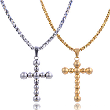 Stainless Steel Religion Jewelry Gold Plated Round Bead Cross Pendant