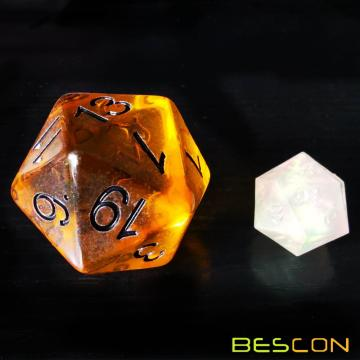 Bescon Amber Jumbo D20 38MM, Big Size 20 Sides Dice, Big 20 Faces Cube 1.5 inch
