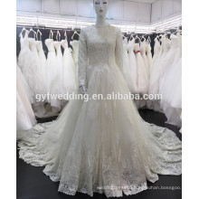 Alibaba Dress Factory Real Pictures Ball Gown Beaded Lace Applique Tulle Train Long Sleeve 2016 Muslim Wedding Dresses A162