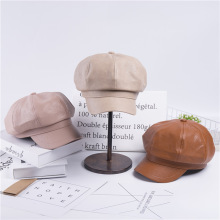 Solid color pu leather British retro octagon beret