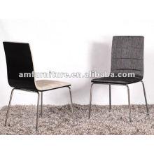 Silla de comedor de estilo nuevo con asiento y respaldo de tela y patas cromadas