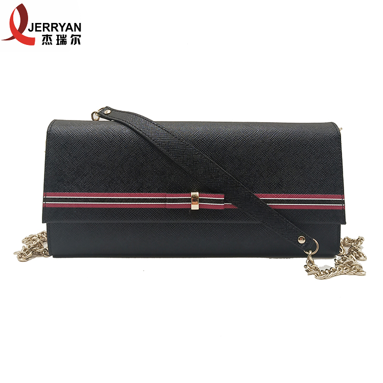 Classic Black Genuine Leather Purse Clutch with Chain