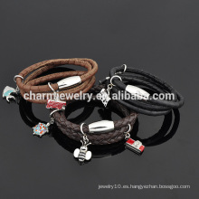 Brazalete de cuero personalizado pulsera de acero inoxidable para las mujeres al por mayor SW-LB021