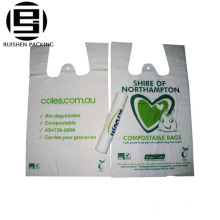 Vest handle printed plastic biohazard garbage bags