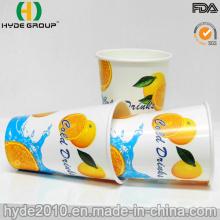 Copo de papel bebendo frio de 12 onças com impressão brilhante / brilho