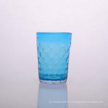 Bougeoirs en verre de couleur bleue