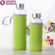 Botella de cristal hermética promocional de 1 litro con la manga termal